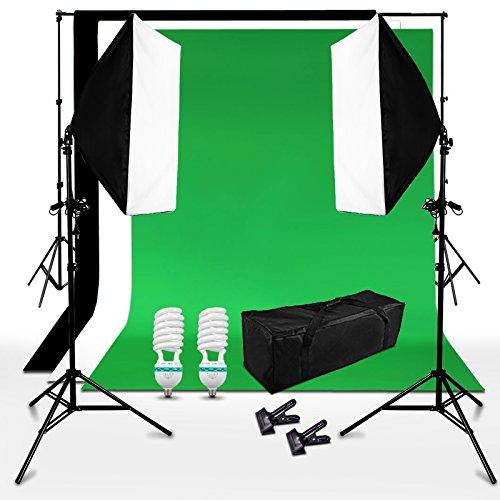 BPS 250W Kit iluminación Fotografía Fondo de Estudio Fotografía   2 softbox 50x70cm + 3 telón de fondo 3x1.6m (negro verde blanco) + sistema soporte + bolsa de transporte   Equipo profesional de estudio fotográfico casero para retrato, vídeo   Backdrop Lighting Foto Kit