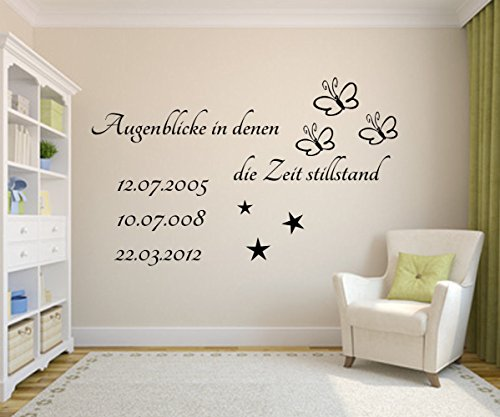 *Augenblicke in denen die Zeit still stand* Wandtattoo mit Wunschdatum.Wandstticker Spruch für die Wand Tapete Datum Sterne,Schmetterlinge