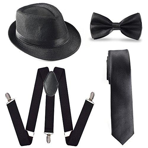 Beelittle 1920 Mens Accessory Set Manhattan Hut, Y-Rücken Hosenträger, Gangster Krawatte, Spielzeug gefälschte Puff Cigar (Jahre Mann 1920er)