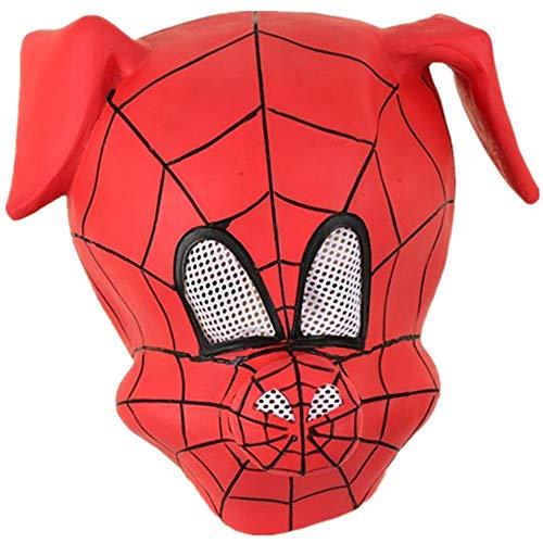 Pig Spider Kostüm - WenBin Halloween-Maske, New Spider Pig Hood, Maske in Schweinkopfform, rote, süße Latex-Requisiten, Requisiten für Bühnenauftritte