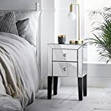 beautify mirrored bedside table nightstand cabinet with 2 silver mirror high shine drawers black legs u0026 luxe crystal handles