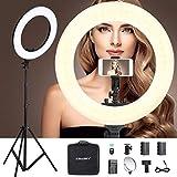 CRAPHY 18' /46cm LED Anillo de Luz 48W 3200-5600K Bicolor con Soporte de Luz Kit: Bluetooth para Móvil, Espejo cosmético para Maquillaje, Youtube Video (Nueva Versión)