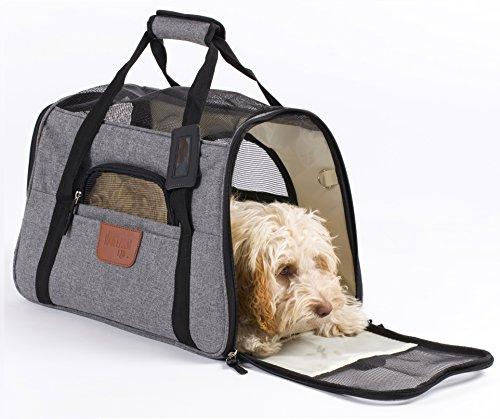 Hartann Transporttasche für Haustiere, Hunde/Katzen/Welpen/Kaninchen, leicht, luxuriös, weiche Seiten, faltbar, grau mit Fleece-Bett (Pet Carrier Deluxe)