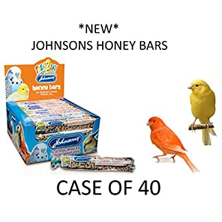 *NEW* JOHNSONS 35G HANGING HONEY SEED TREAT BARS FOR CANARIES & FINCHES CASE OF 40 51NhOfm6AWL