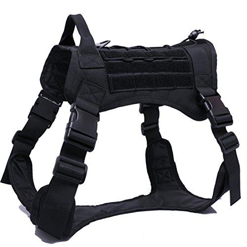 feiling Tactical Hundegeschirr Heavy Duty Outdoor Powergeschirr Einstellbare Vest Harness Brustgeschirre Arbeitshunde Sicherheitsgeschirr für Mittlere und Große Hunde (L, schwarz)