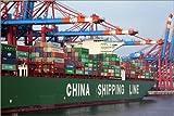 Acrylglasbild 150 x 100 cm: Container ship at Container Terminal, Hamburg harbour, Germany, Europe von Hans-Peter Merten / Robert Harding - Wandbild, Acryl Glasbild, Druck auf Acryl Glas Bild