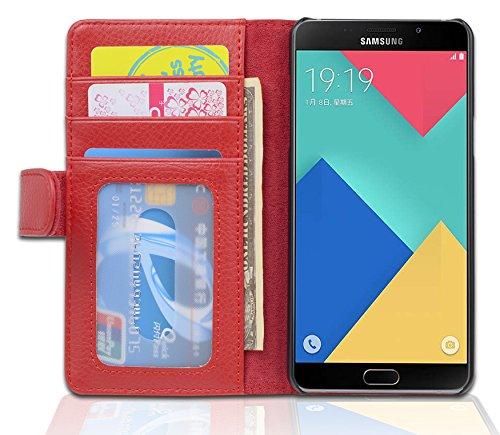 Preisvergleich Produktbild Cadorabo Hülle für Samsung Galaxy A5 2016 (6) - Hülle in Inferno ROT – Handyhülle mit 3 Kartenfächern - Case Cover Schutzhülle Etui Tasche Book Klapp Style