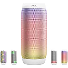 Life Plus LED, Altoparlante Wireless Bluetooth, HIFI Speaker Altoparlante stereo portatile 6 modalità di luce supporto NFC vivavoce chiamata FM radio TF card Player, bianco