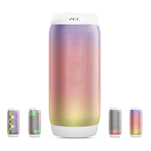 Life-Plus LED Lautsprecher, Wireless Bluetooth Lautsprecher, HiFi Lautsprecher Tragbarer Stereo Lautsprecher 6 Lichtmodus Unterstützung NFC Freisprechanruf FM Radio TF Kartenspieler (Weiß)