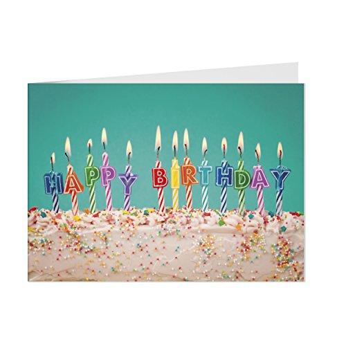 5 x Geburtstagskarte (Happy Birthday Kerzen) mit Umschlägen im Set, DIN A6 zum Geburtstag - Karte quer 4 seitig Postkarte Brief
