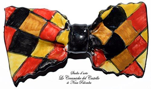 Fliege Keramik Klassischen Linie Piece Unique Hergestellt und von Hand bemalt Le Ceramiche del Castello Made in Italy Maße: 9.5 x 5 cm (Klassische Clown Kostüme)