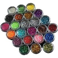 Cikuso 24 Colores acrilicos Brillantes Escarcha UV Hojas Consejos Unas Arte Decoracion