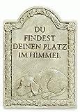 16cm Steinharz Tiergrabstein f. Hund + Beschriftung Grabstein Gedenkstein Trauer