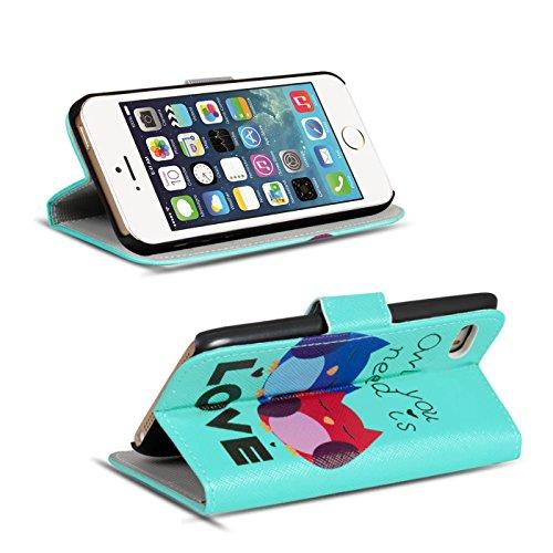 Gemusterte Hülle für Apple iPhone 5S SE 5 Klapphülle Tasche – Wallet Case im Owl und Reh Motiv Design mit Kartenfach und Aufstellfunktion Motiv 18