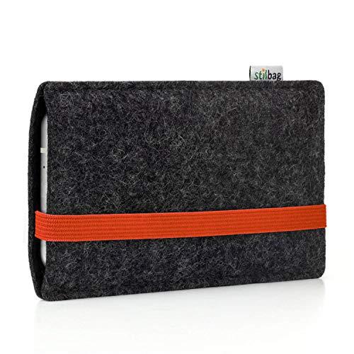 Stilbag Handyhülle Leon für Samsung Galaxy Note 8 | Farbe: anthrazit/orange | Smartphone-Tasche aus Filz | Handy Schutzhülle | Handytasche Made in Germany