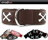 avadoo® Hundehalsband Leder Reflektierend mit Knochen aus beschichtetem Spaltleder Design CUCA Braun, Größe S 32-42cm