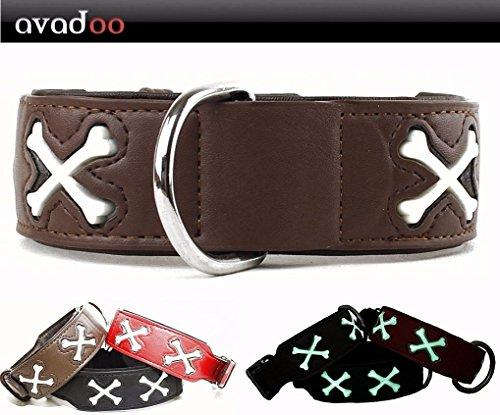 nd Leder Reflektierend mit Knochen aus beschichtetem Spaltleder Design CUCA Braun, Größe S 32-42cm ()