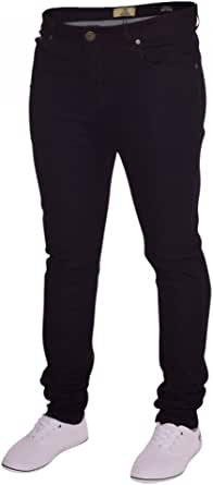Island Trading Mens Skinny Stretch Slim Fit Stretchable Denim Jeans Cotton Trousers Blue, Black, Light Dark Blue