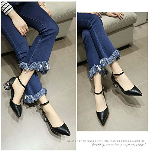 L&Y Sandali di cuoio di brevetto della sinfonia della pompa della cinghia della caviglia Grigio
