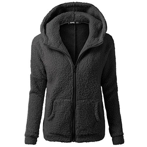 Femmes Manteau À Capuchon Manteau Hiver Chaud Laine Zipper Manteau Coton Manteau Outwear GongzhuMM Quatre couleurs (XL, noir)