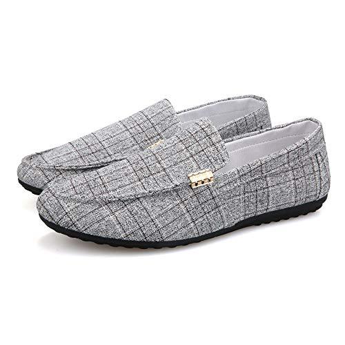 EGS-Shoes Driving Loafer für Männer Boot Mokassins Slip On Style Tuch Material Low Top Leichte runde Zehe,Grille Schuhe (Color : Grau, Größe : 44 EU) -
