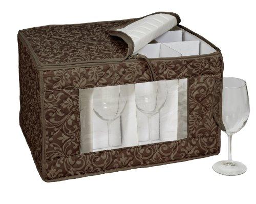 HOMEWEAR Hudson Damast Braun Goblet Stielglas Speicher für 12Gläser, 13von 16,5von 26,7cm - Damast-speicher