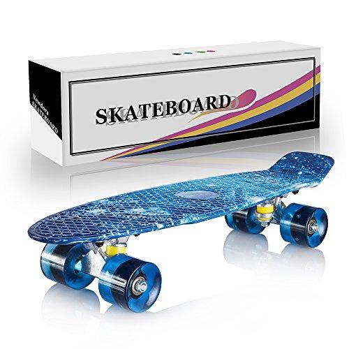 """Newdora 22"""" kompletter Skateboard Cruiser mit buntem LED-Lichtrad für Kinder, Jungs, Mädchen, perfektes Geschenk (Galaxy,22)"""
