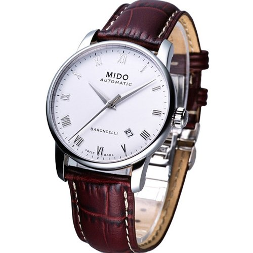 mido-mens-baroncelli-ii-38mm-brown-leather-band-steel-case-automatic-white-dial-analog-watch-m860042