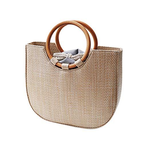 Peng Sheng Stroh Handtasche für Frauen Sommer Strand Stroh Handtasche Braun Holz Ring Tote Umhängetasche Umhängetasche Mit Lederband