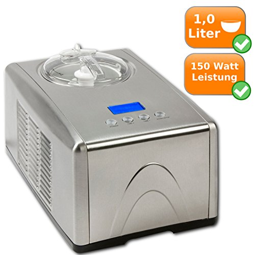 Xl-macchina del ghiaccio per 1,5 litro di gelato, fresco-compressore dall'acciaio - 35 gradi, per quadri + frozen yogurt