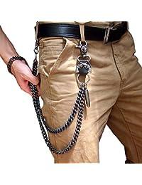 Cadenas de cintura pesadas, para hombres, moteros, Hip Hop Rock Punk, calavera