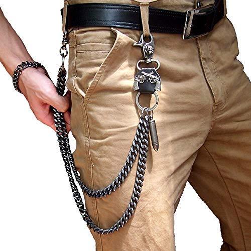 Cadenas de cintura pesadas, para hombres, moteros, Hip Hop Rock Punk, calavera, pistolas fuertes, pantalones vaqueros, cadena y cartera, negro