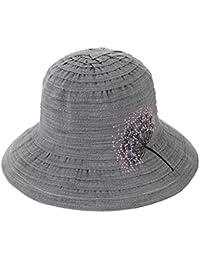 iSpchen Cappello Bombetta Benna Elegante Vintage Donna Tracolla Larga  Spiaggia Tesa Larga Con Ricamo Forma Dente 8ced6a3e077e