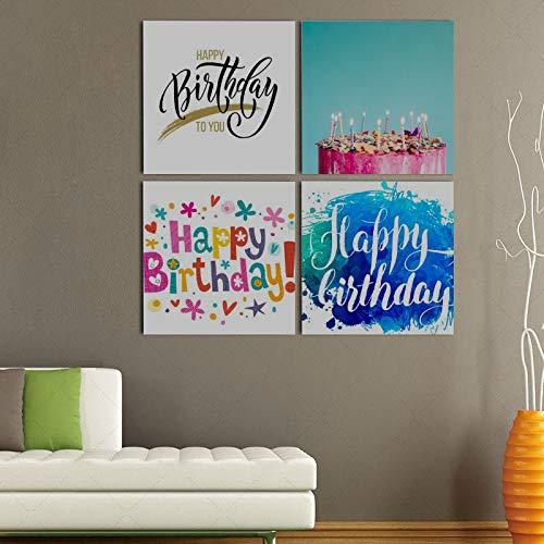 Yushg Wandkunst Malerei Bild Alles Gute Zum Geburtstag Jubiläum Moderne Hängende Foto Leinwand Drucke pcs/Set Mit Holzrahmen Für Schlafzimmer Wohnzimmer Büro Home Decor 16x16 Zoll