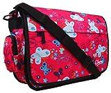 New Girls Womens Chervi Butterfly School College Laptop Satchel Messenger Bag (Pink Butterfly)