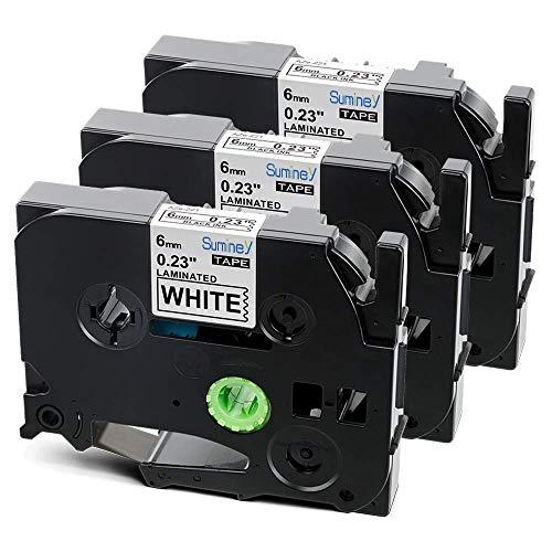 Suminey 3x Compatibile Brother 6mm x 8m Tze-211 Tze211 Tz-211 Tze Tape Nero su Bianco Nastri per Etichette Brother P-Touch PT-1000 GL-H100 PT-H100LB H101C P700 E100 D600VP D400VP Etichettatrice