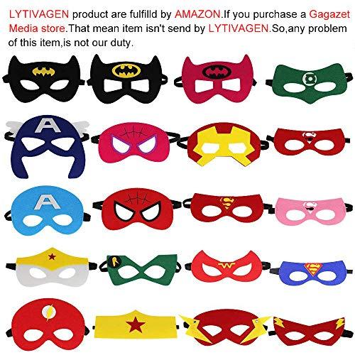 (LYTIVAGEN 20er Superhelden Maske, Batman Maske,Superman maske mit Elastischen Seil Kinder Maske für Kinder, Weihnachten, Halloween, Party, Geburtstag,Cosplay)