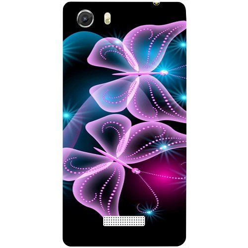 Casotec Butterflies Neon Light Design Hard Back Case Cover for Micromax Canvas Unite 3 Q372  available at amazon for Rs.149