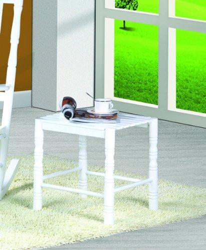 CLP Table basse décorée en bois massif, 45 x 40 cm, Hauteur: 45 cm, style nostalgique, utilisable comme tabouret, table à plantes, table de téléphone blanc