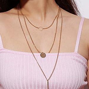 XUHAHAXL Halskette/Accessoires, Mode, Minimalistisch, Mehrschichtige Anzüge, Pailletten, Pailletten, Metallstreifen, Lange Halsketten, Halsketten, Halsketten, Halsketten.