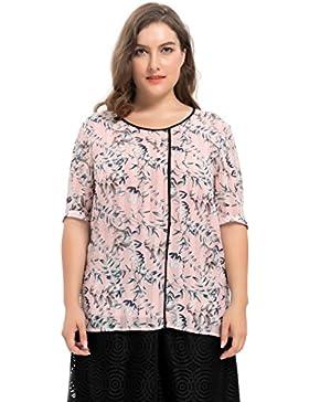 [Patrocinado]Chicwe Blusas Tops Tallas Grandes Mujeres Camiseta de Gasa Dobby Estampado de Hojas 1X-4X
