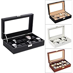 Black/White/Brown 12 Watch Bracelet Bangle Box Display Storage Case