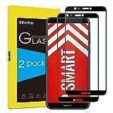 SPARIN [Lot de 2] Verre Trempé Huawei P Smart, Protection Ecran Vitre Film Protection Pour Huawei P Smart, Couverture Complète, Anti-rayures, Haut Définition, Noir