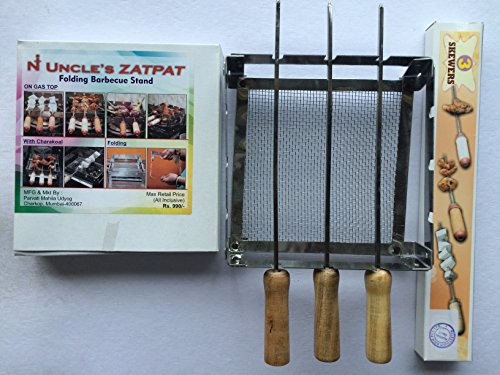 Milestouch Set Of ZATPAT Mini Chota, Portable Compact Barbeque Grilling / Tandoor and Three Skewers-13 Inches (Rods, Saliya) Coal / Gas  available at amazon for Rs.735