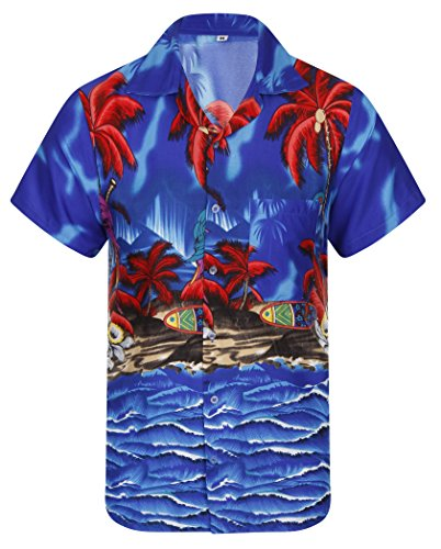 Hawaiian-Shirt-Mens-Loud-Parrot-Aloha-Funky-Hawaii-Honolulu-Holiday-Beach-Beer-Stag-Palm-Tree-Summer-Party-Caribbean-Short-Sleeve-S-M-L-XL-XXL