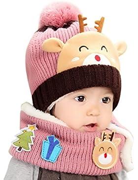 Bambini Ragazze di Inverno Caldo Cappello Sciarpa Set, a testa–Cute Lovely Alce, colore: rosa