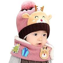 840d061fe7a2 Bébé Set 2pcs Tricoté Bonnet + Col écharpe Chaud Soft pour Hiver Noël