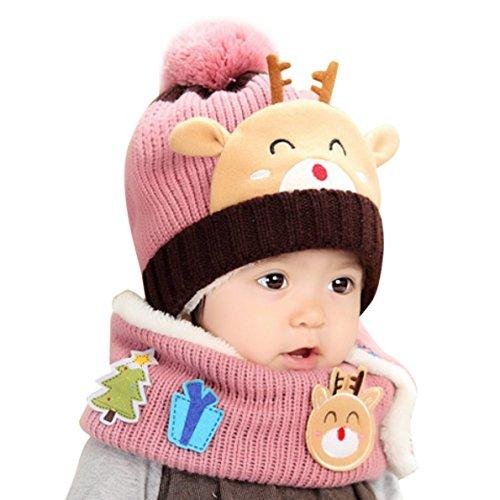 Bébé Set 2pcs Tricoté Bonnet + Col écharpe Chaud Soft pour Hiver Noël 1480b01995f