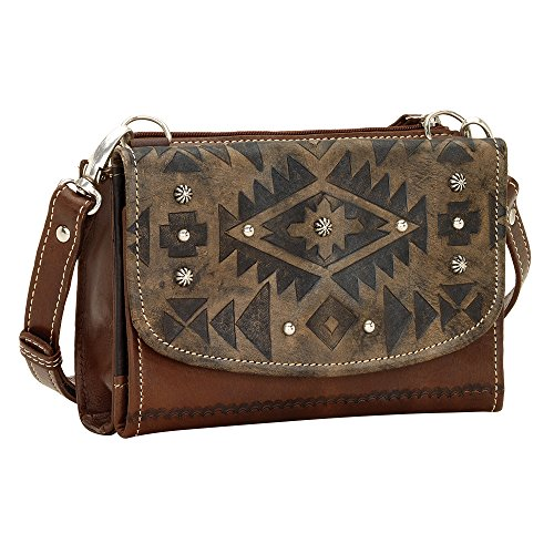 American West , Sacs bandoulière femme Distressed Charcoal Brown / Chestnut Brown