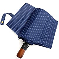 TOPofly Unisex Automatic Umbrella Navy With Wooden Handle 10 Ribs Windproof Umbrella Auto Open and Close Umbrella